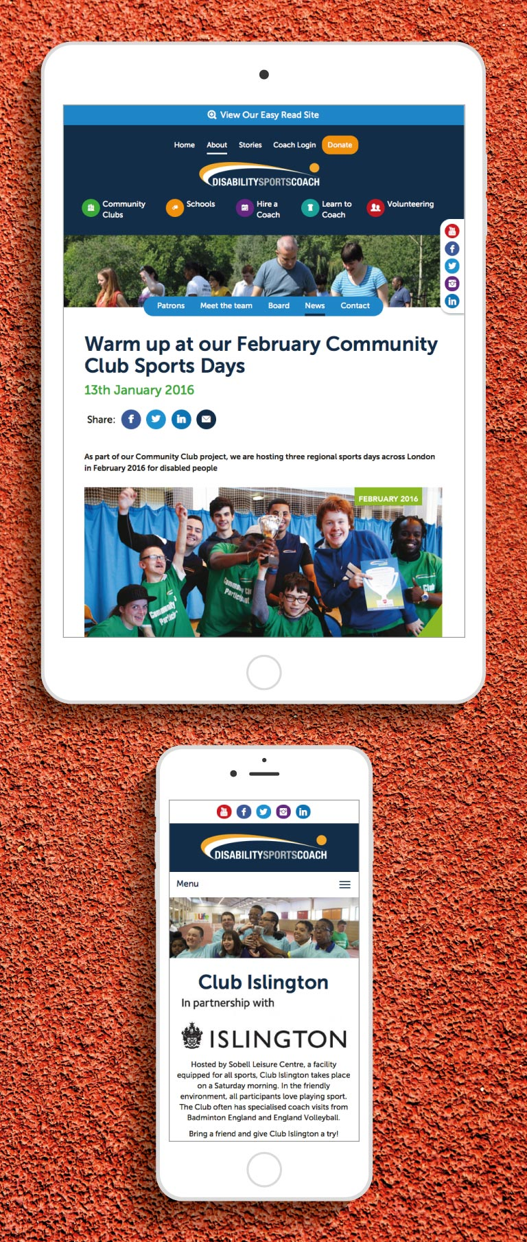 The Disability Sports Coach website on an iPhone and iPad - mobile