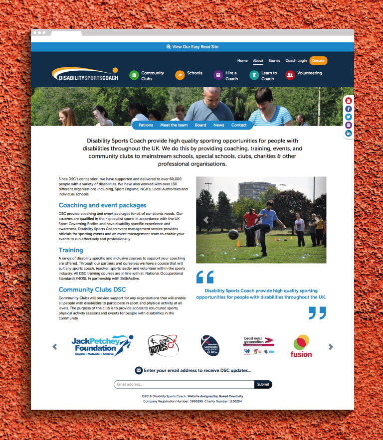 The About Us page on the Disability Sports Coach website - mobile