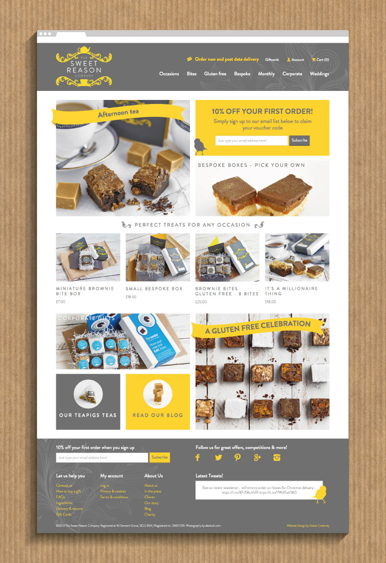 The Sweet Reason Company website home page - mobile