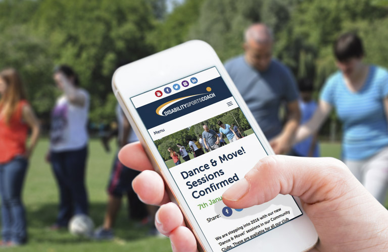 Disability Sports Coach website on a mobile phone - mobile