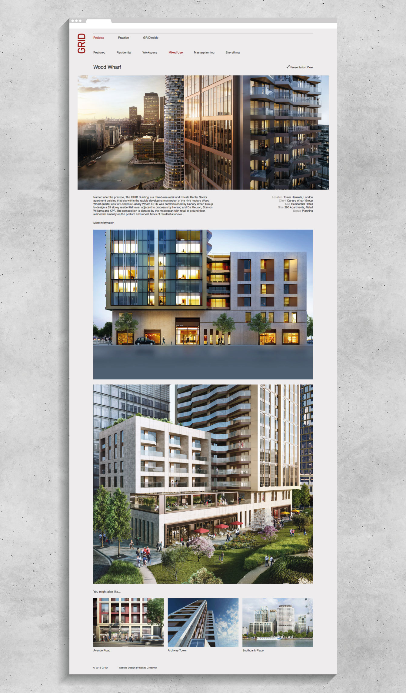 A project page from the GRID Architects website - desktop