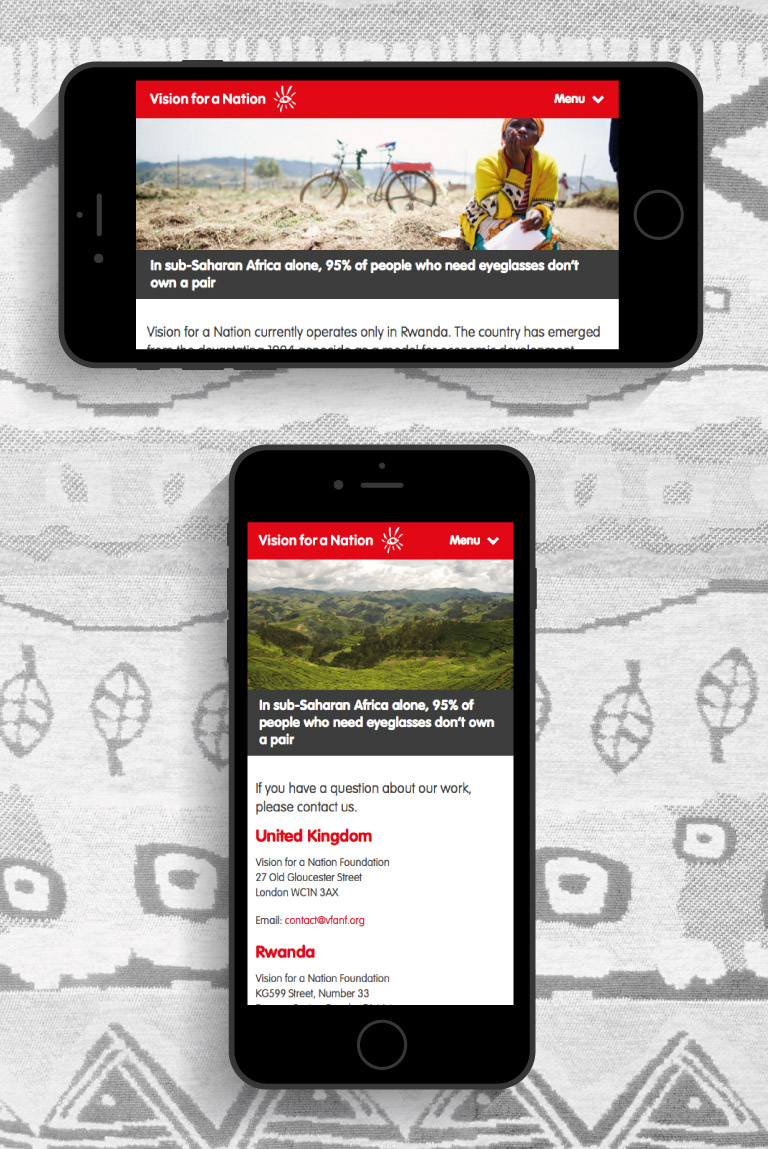 The Vision for a Nation website displayed on a portrait and landscape iPhone - mobile