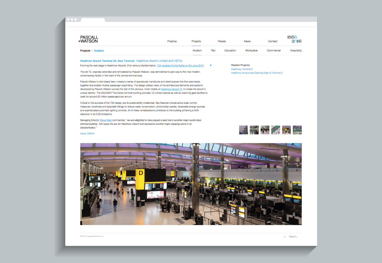 A case study page on the Pascall+Watson website - desktop
