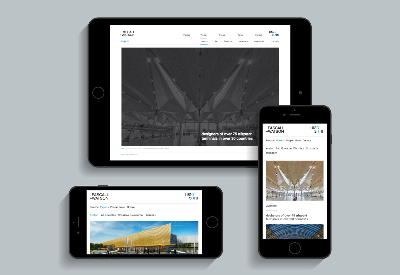 The Pascall+Watson website on an iPhone and iPad - desktop