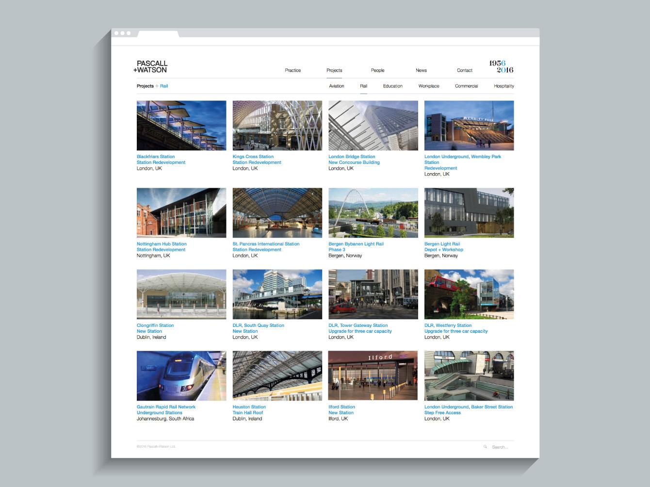 The Rail case studies on the Pascall+Watson website - desktop
