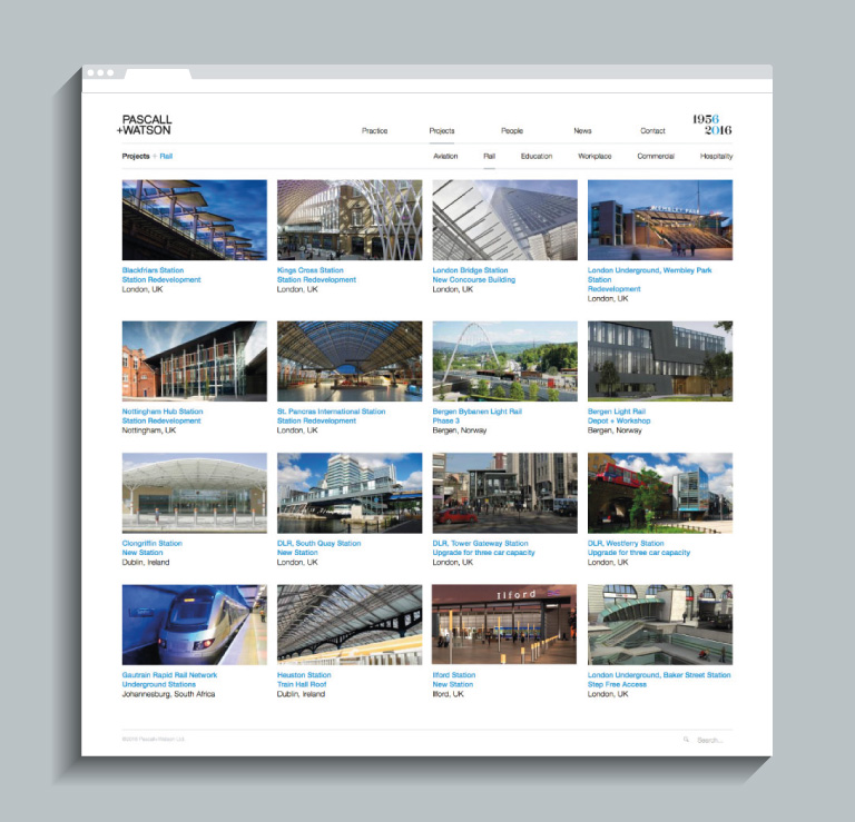 The Rail case studies on the Pascall+Watson website - mobile