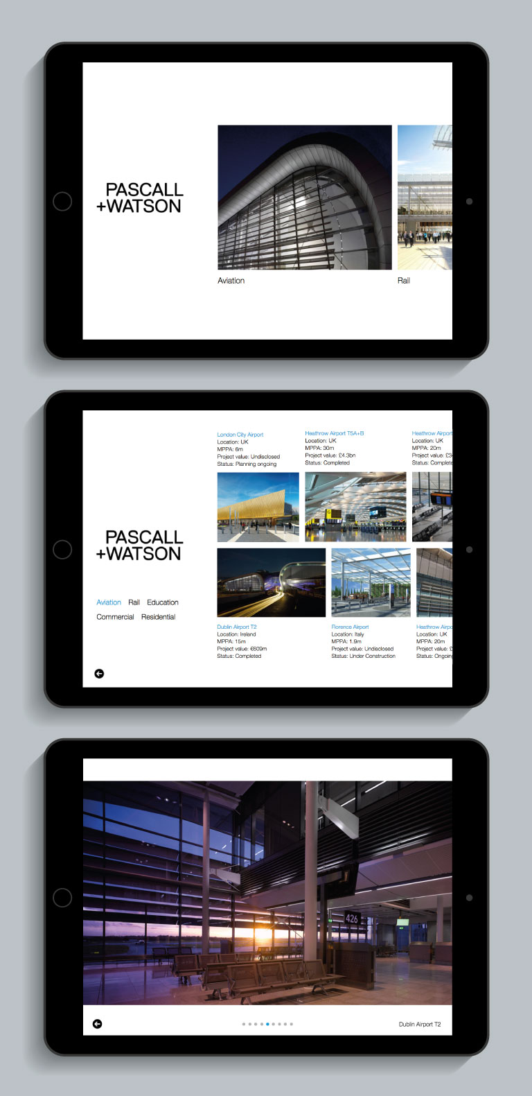 The Pascall+Watson iPad app displayed on an iPad - mobile