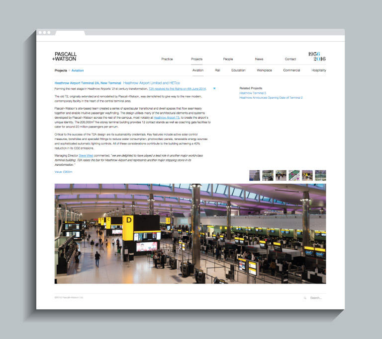 A case study page on the Pascall+Watson website - mobile