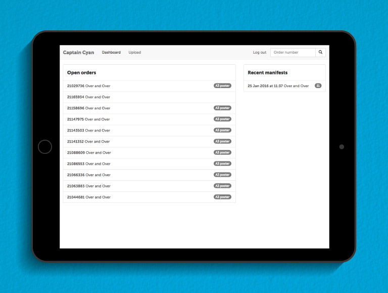 Open order screen of the Captain Cyan fulfilment app on an iPad - mobile