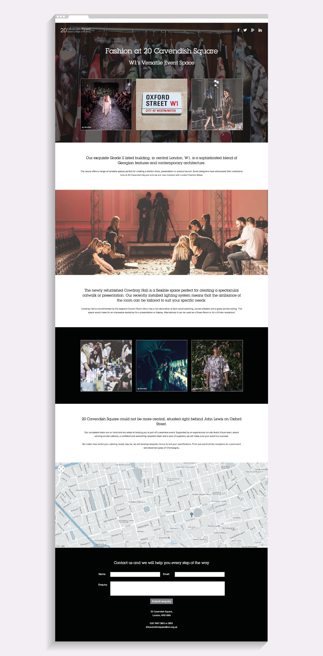 The Fashion landing page on the 20 Cavendish Square website - desktop