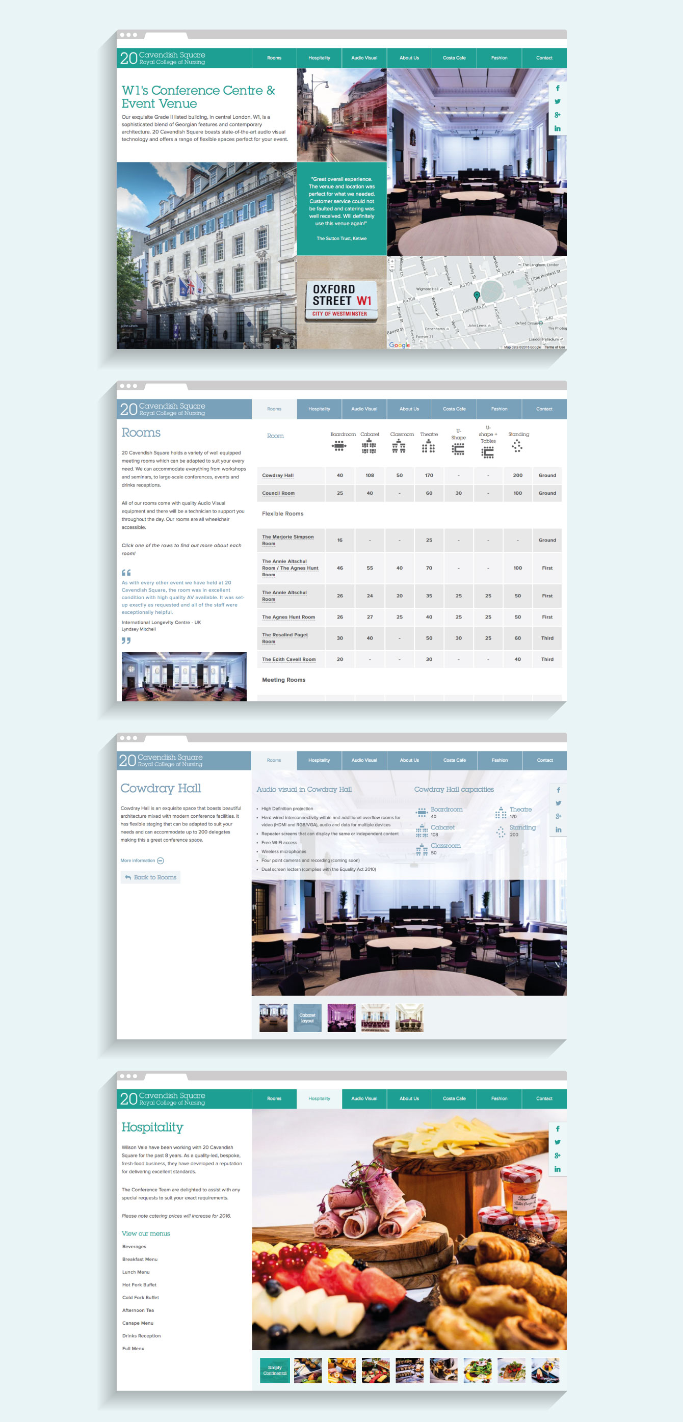 Website pages from the 20 Cavendish Square website - desktop
