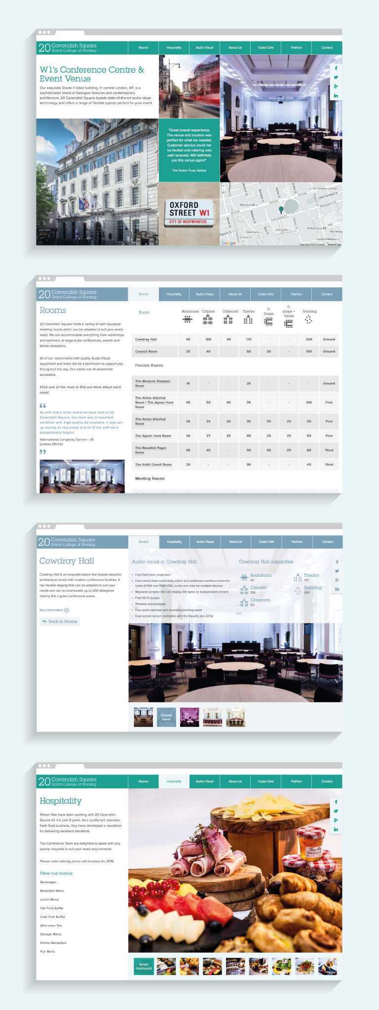 Website pages from the 20 Cavendish Square website - mobile