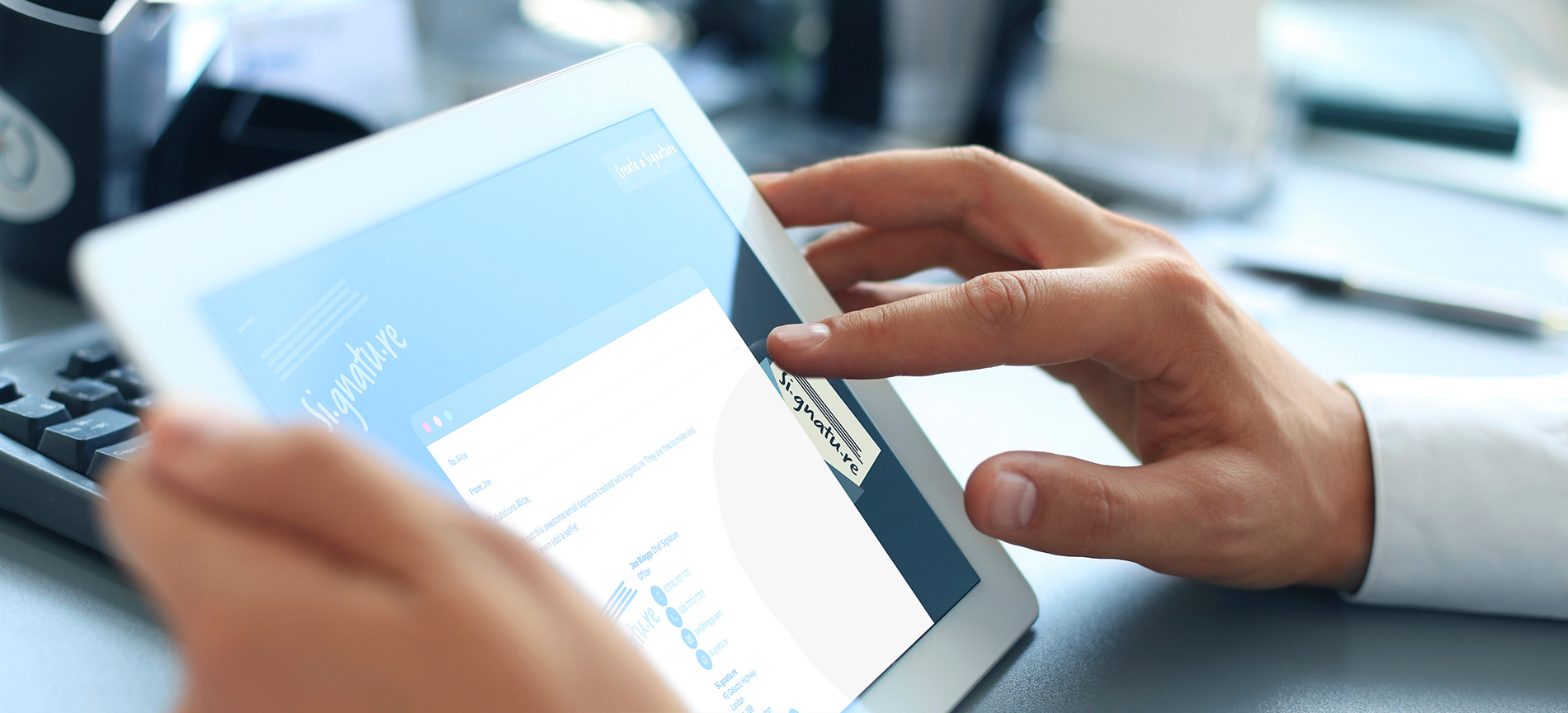Editing an email signature on an iPad - desktop