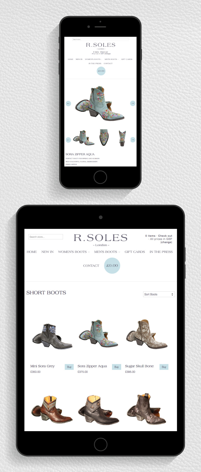The R.Soles website on an iPad and iPhone - mobile