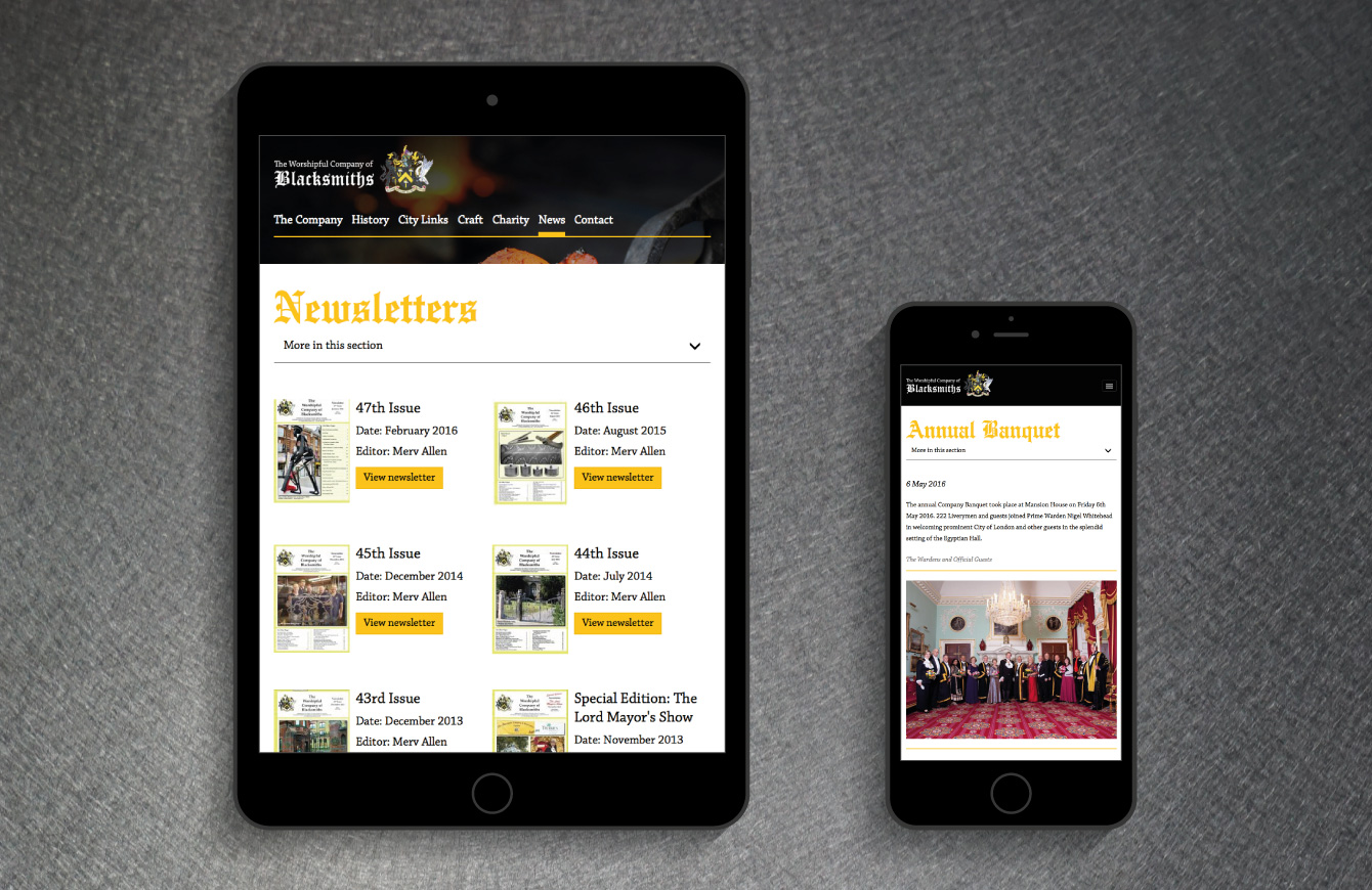 The Worshipful Company of Blacksmiths website on an iPad and iPhone - desktop