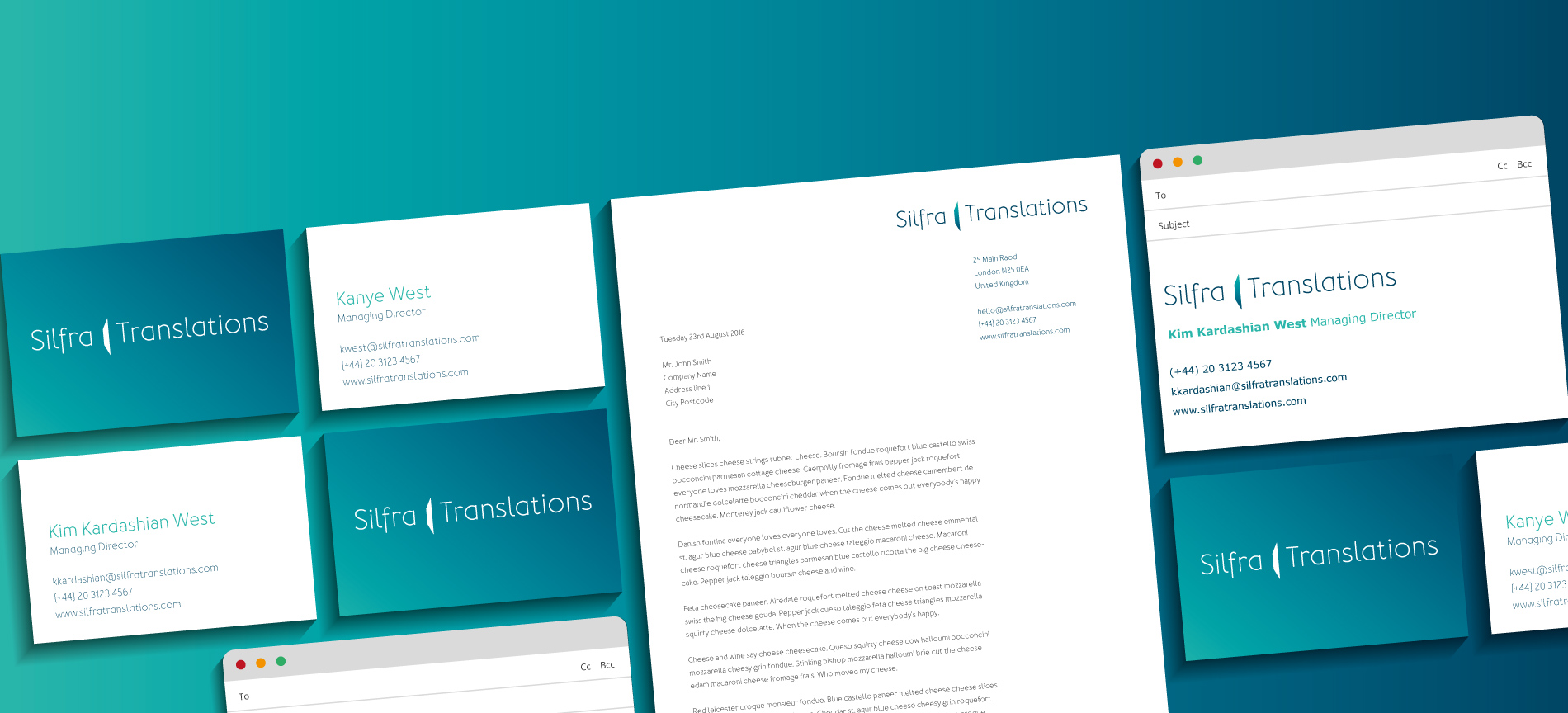 Silfra Translations letterhead, business card and email signature - desktop