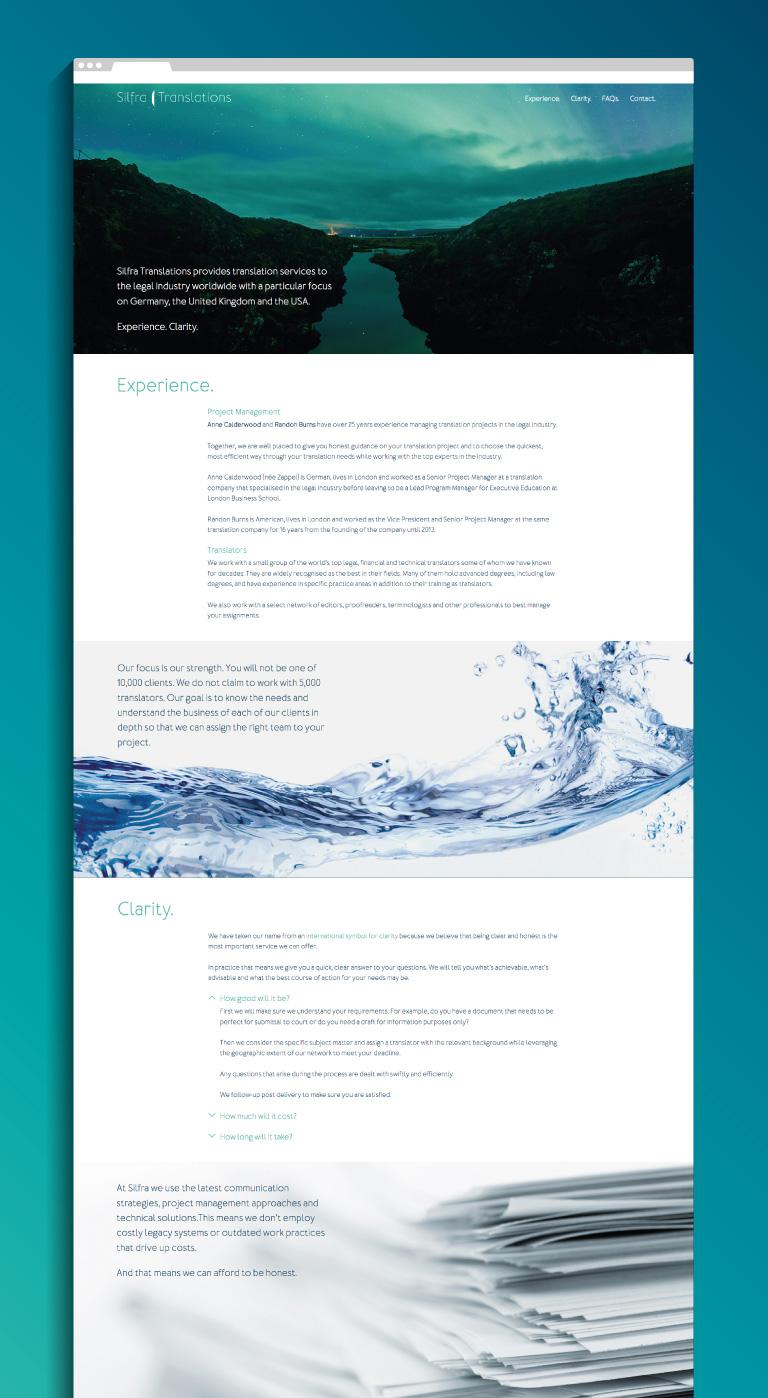 Silfra Translations website - mobile
