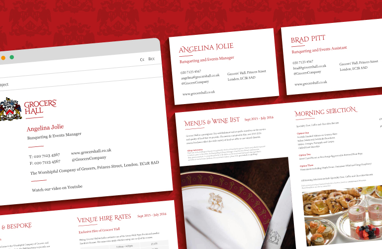 A montage of the Grocers' Hall brochure, business cards and email signature - mobile