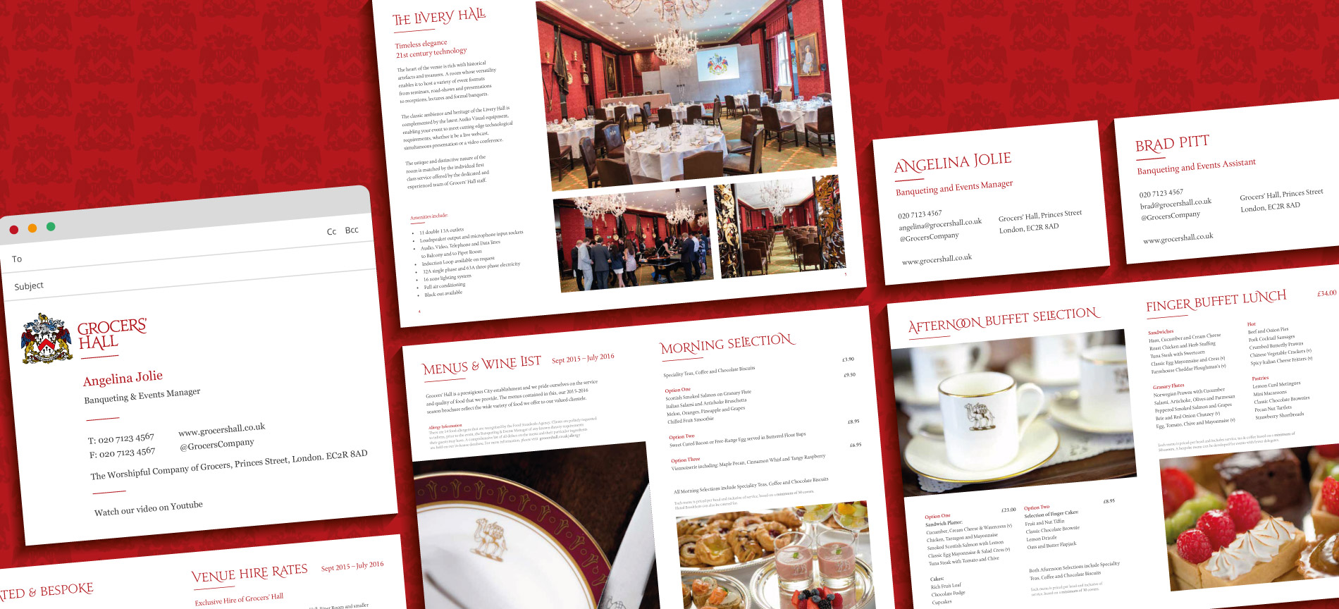 A montage of the Grocers' Hall brochure, business cards and email signature - desktop