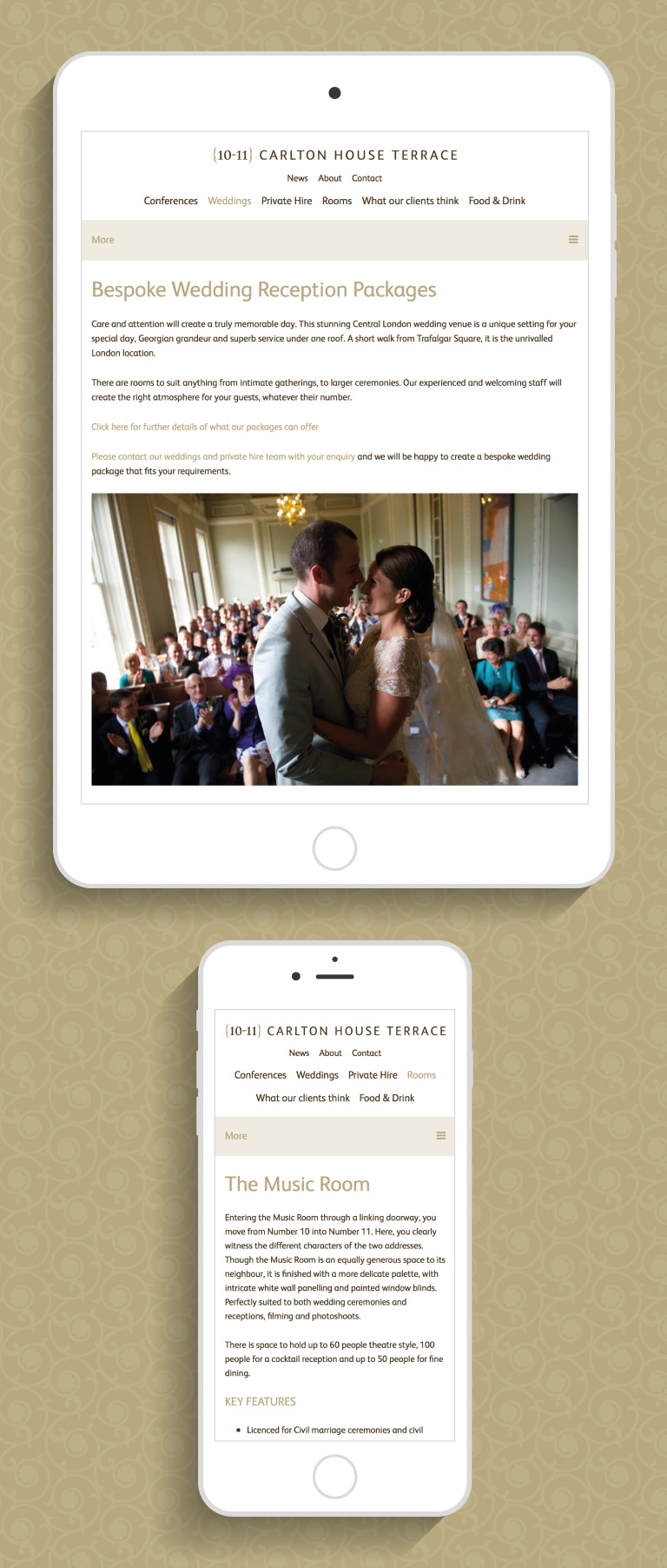 The 10-11 Carlton House Terrace website on an iPad and iPhone - mobile