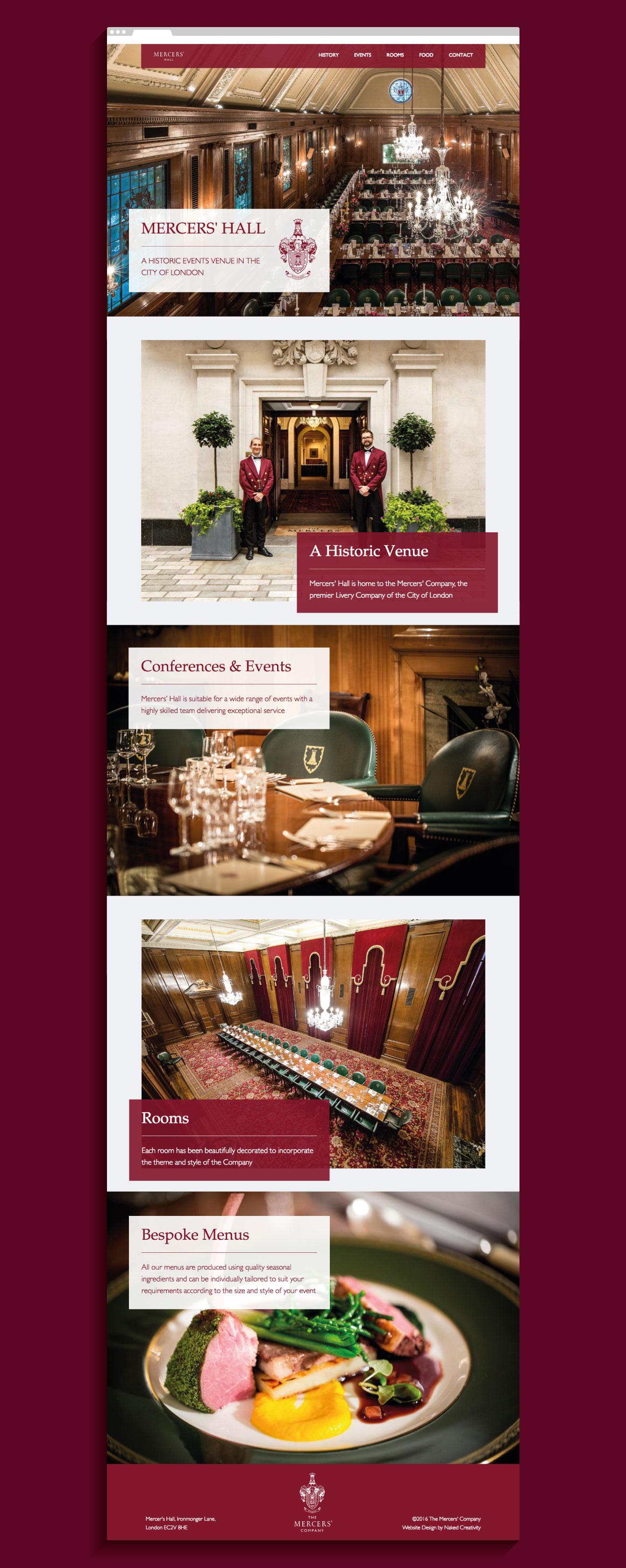The Mercers' Hall website homepage - desktop