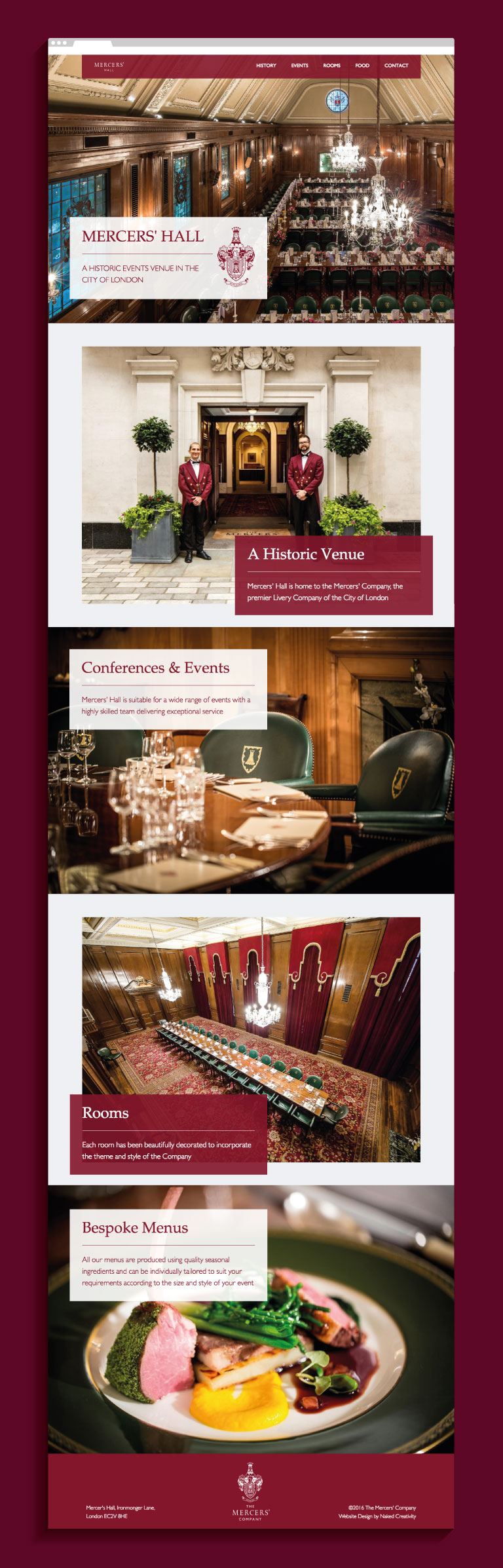 The Mercers' Hall website homepage - mobile