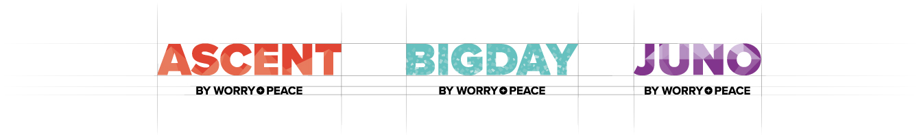 Product brand logos for Worry + Peace products - desktop
