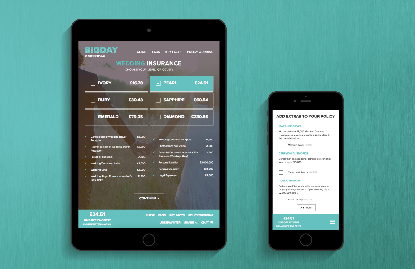 The Bigday quote engine on an iPad and iPhone - desktop