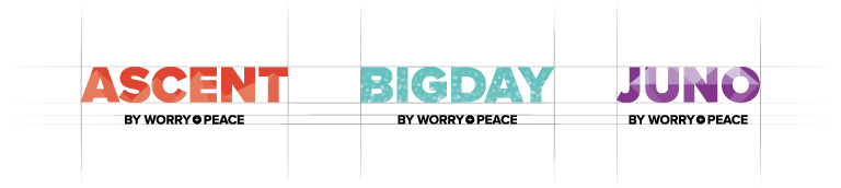 Product brand logos for Worry + Peace products - mobile