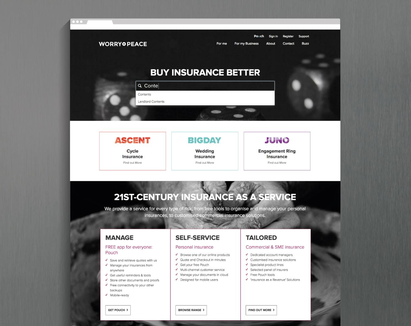 The Worry + Peace marketing website - desktop