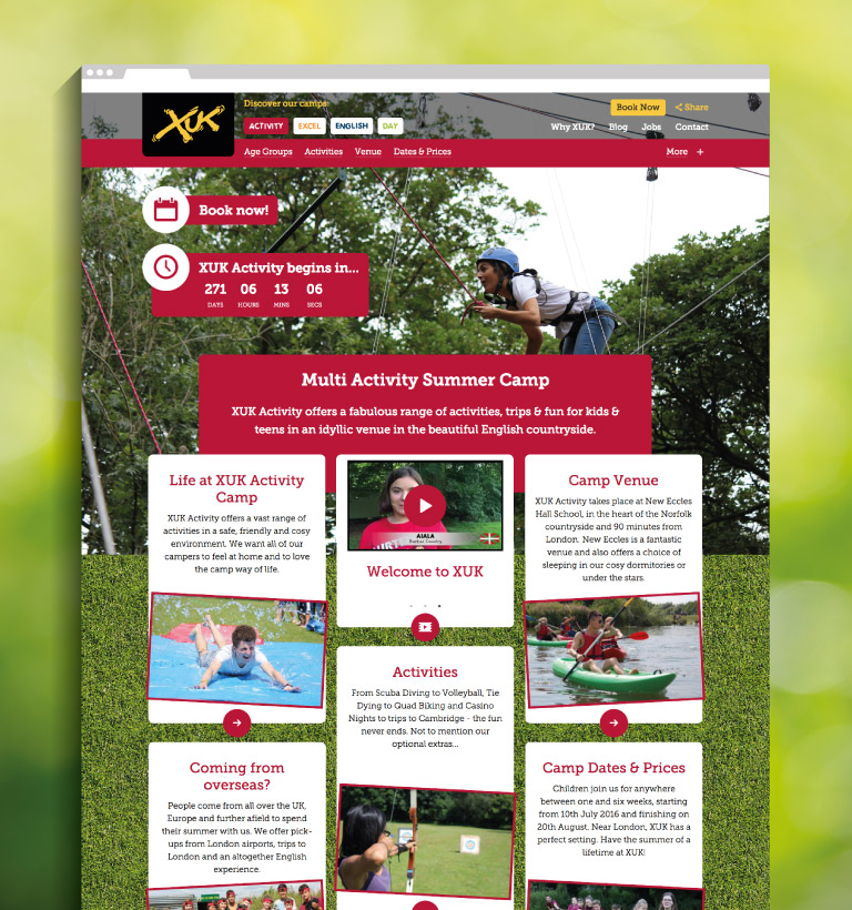 XUK Activity camp landing page - mobile