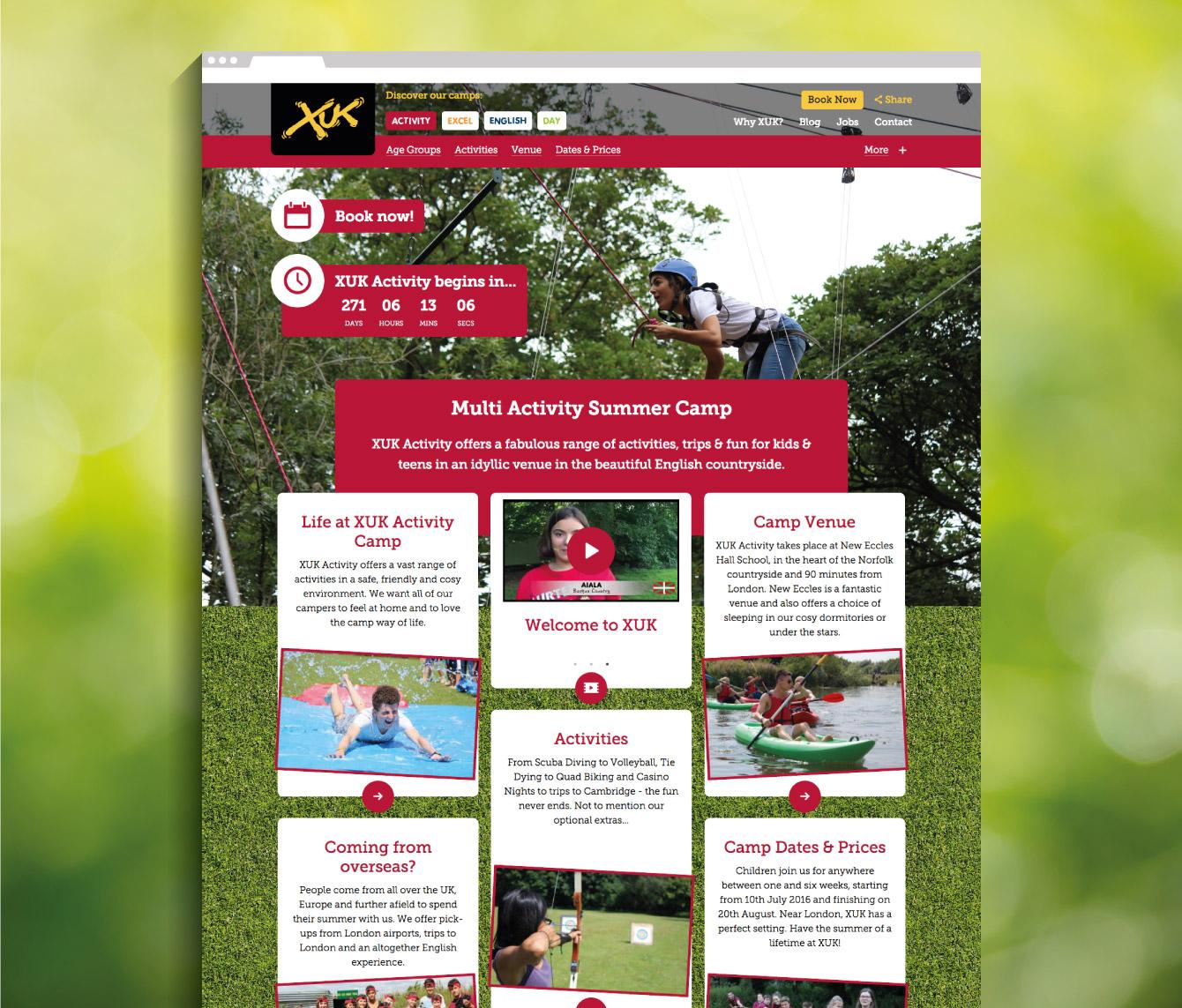 XUK Activity camp landing page - desktop