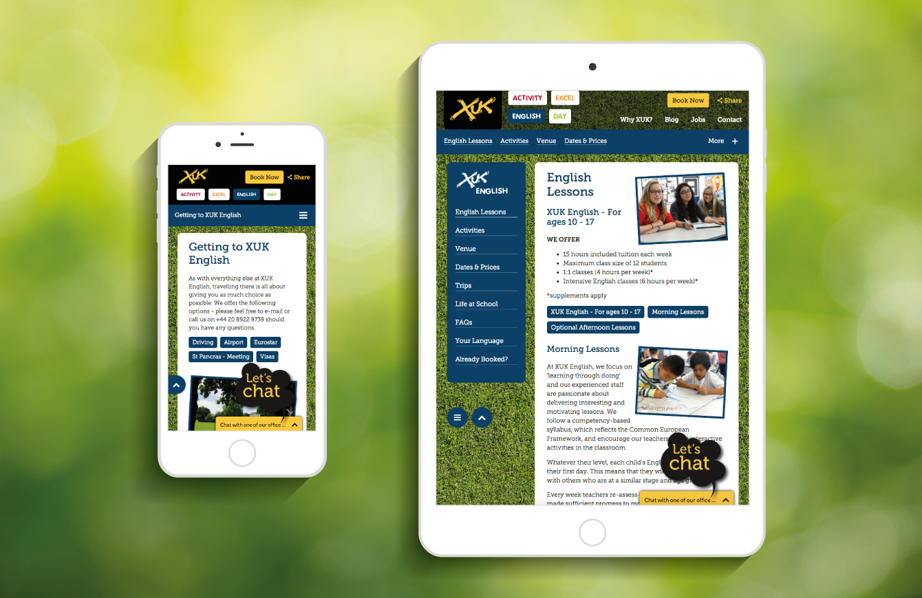 The XUK website on an iPhone and iPad - desktop