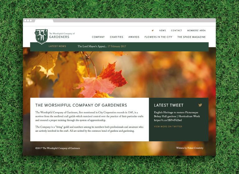 The Worshipful Company of Gardeners homepage - mobile