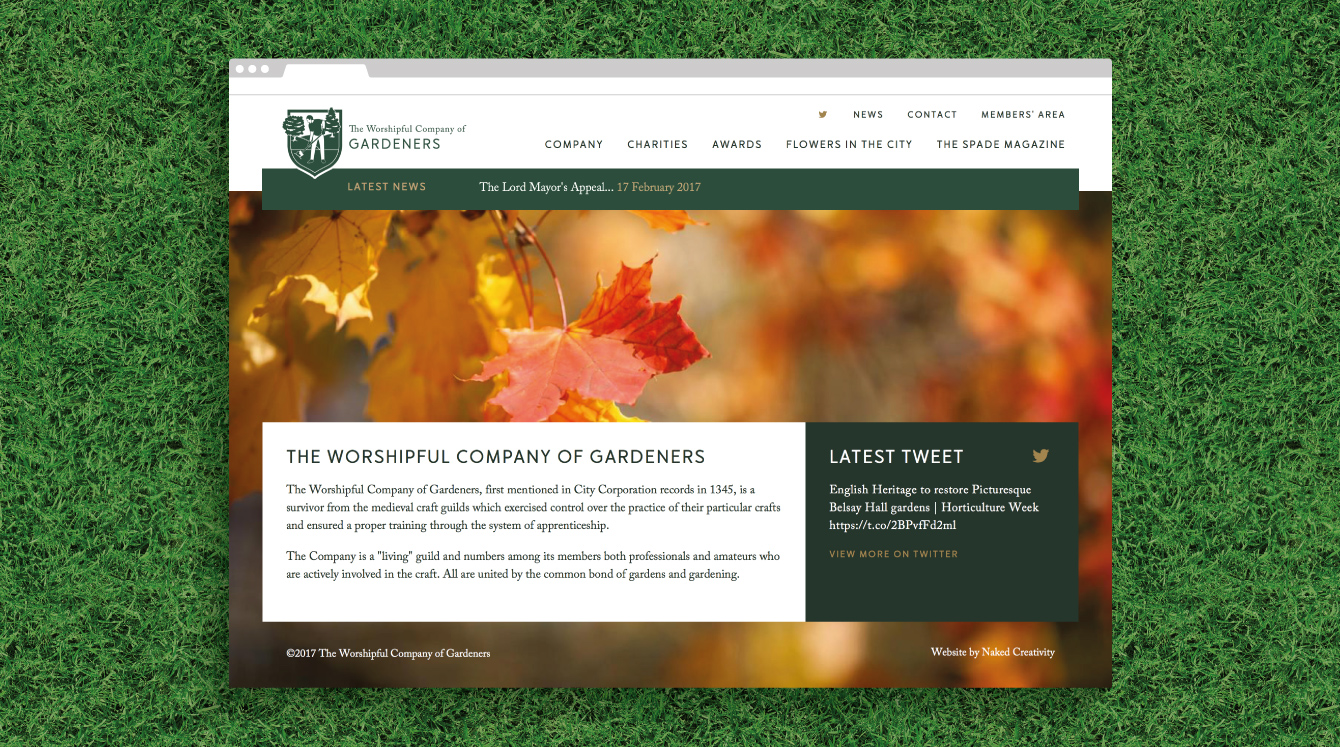 The Worshipful Company of Gardeners homepage - desktop