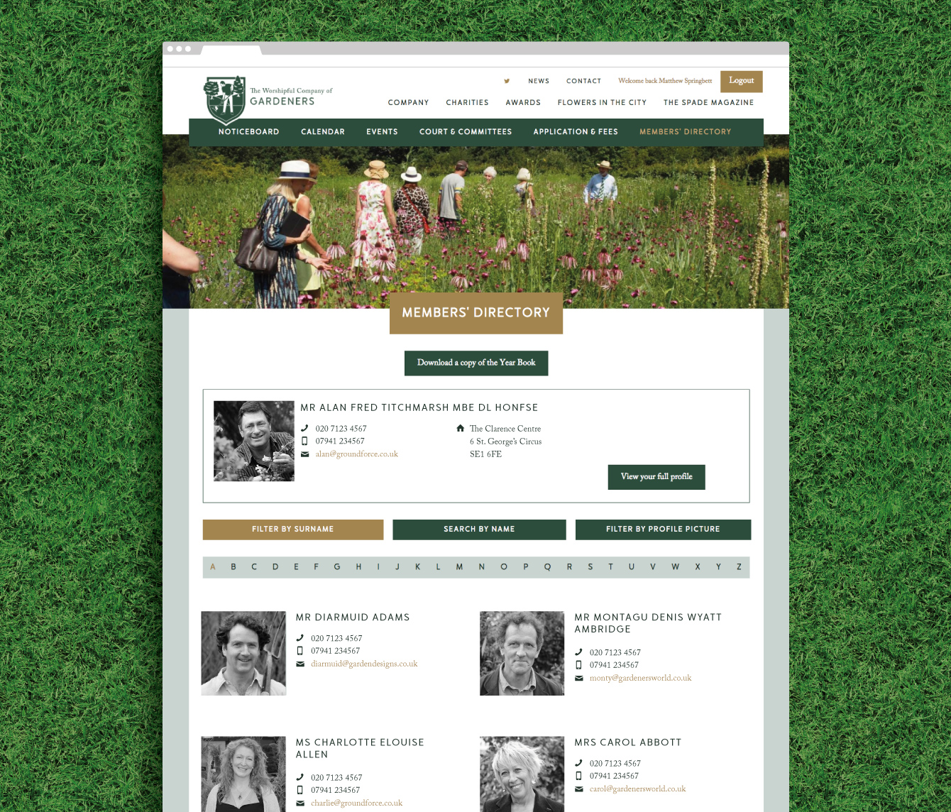 The members directory on the Gardeners website - desktop