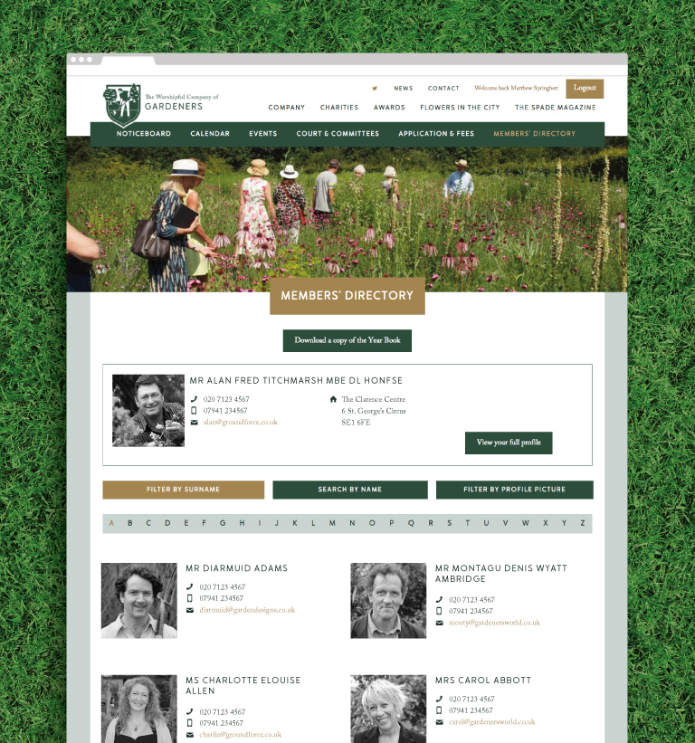 The members directory on the Gardeners website - mobile