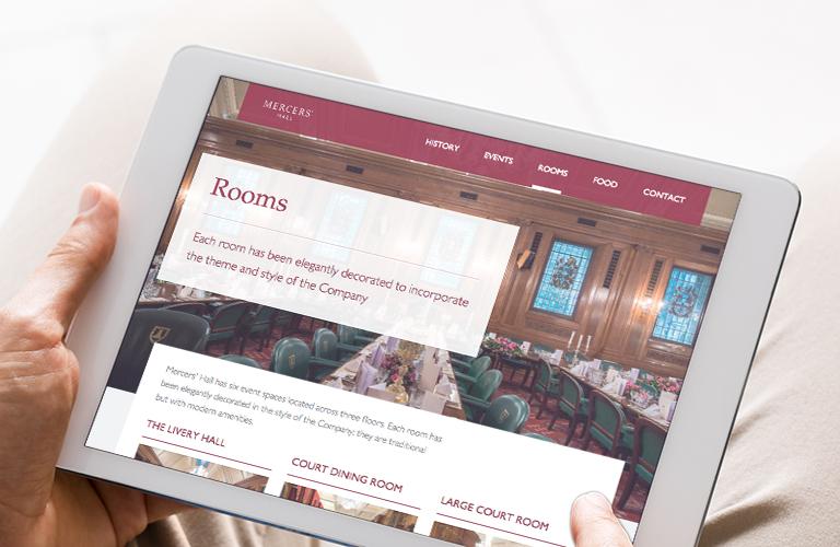 Mercers' Hall website on an iPad - mobile