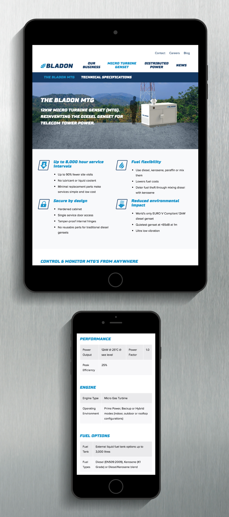 Bladon website on a iPad and iPhone - mobile