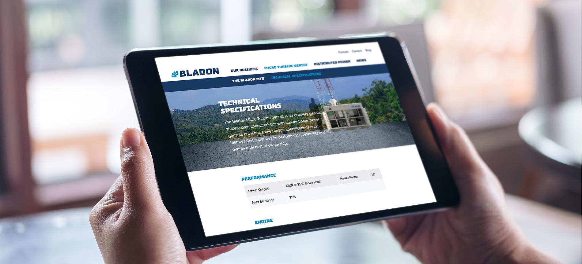 The Bladon website on an iPad - desktop