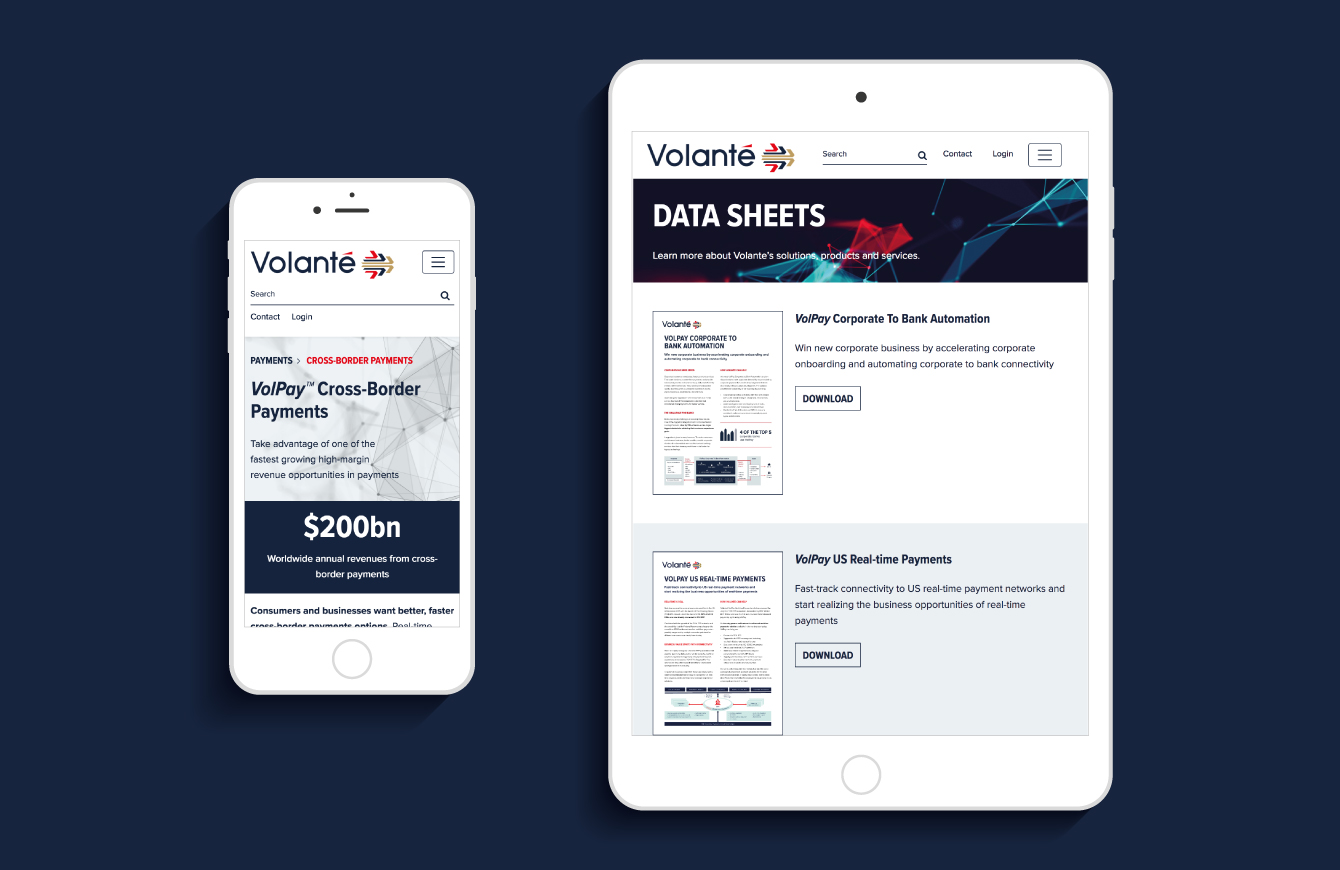 The Volante website on an iPad and iPhone - desktop