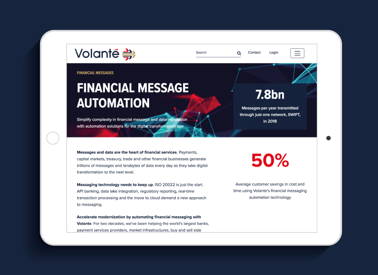Volante website on an iPad - mobile