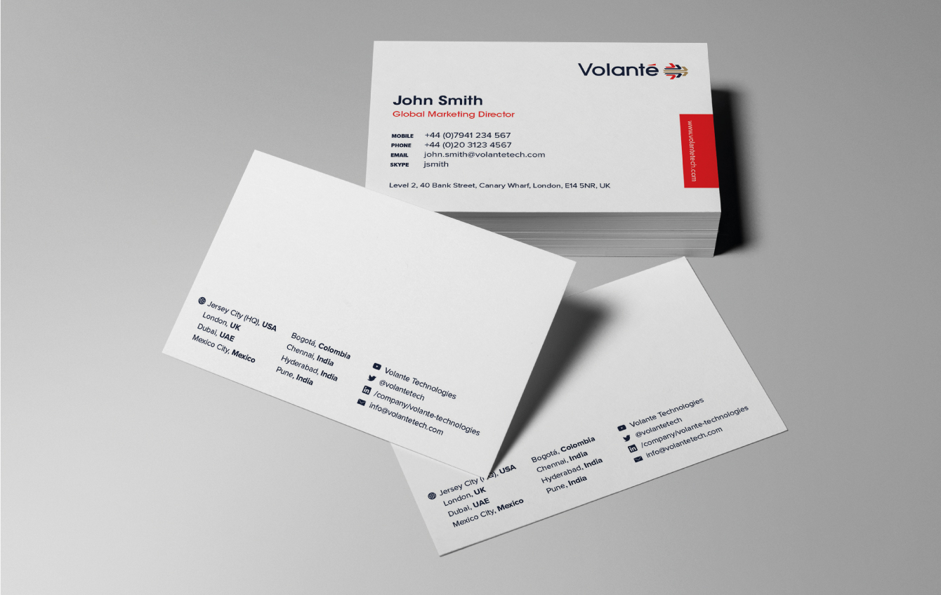 Volante business card design - desktop