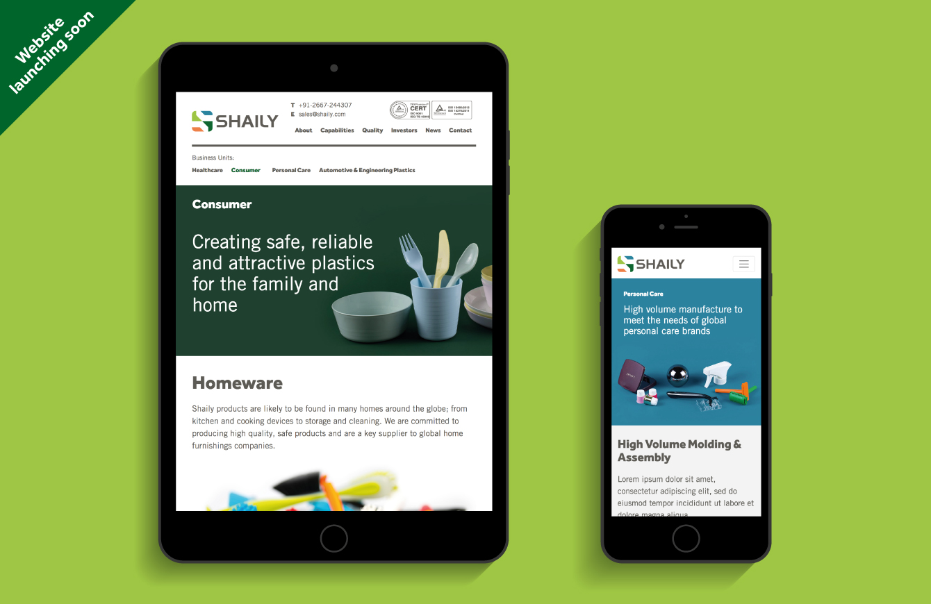 The Shaily website on an iPad and iPhone - desktop