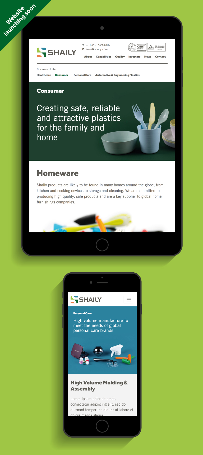 The Shaily website on an iPad and iPhone - mobile