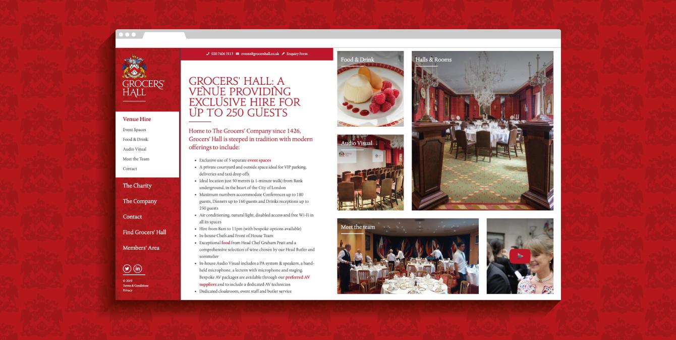 Grocers' Hall website - desktop