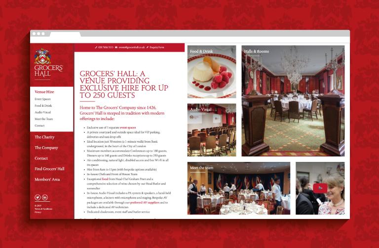 Grocers' Hall website - mobile