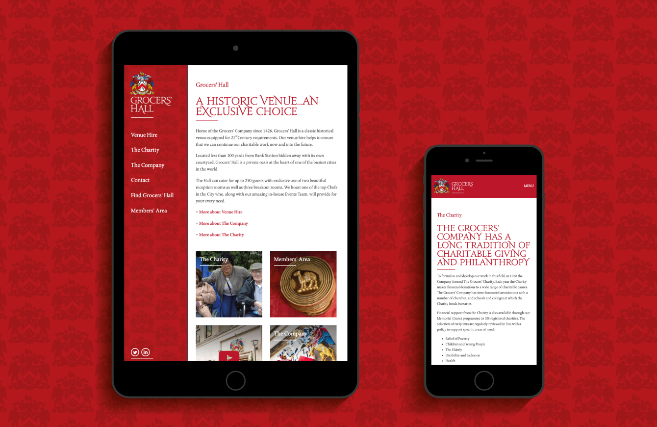 Grocers' Hall website on an iPad and iPhone - desktop