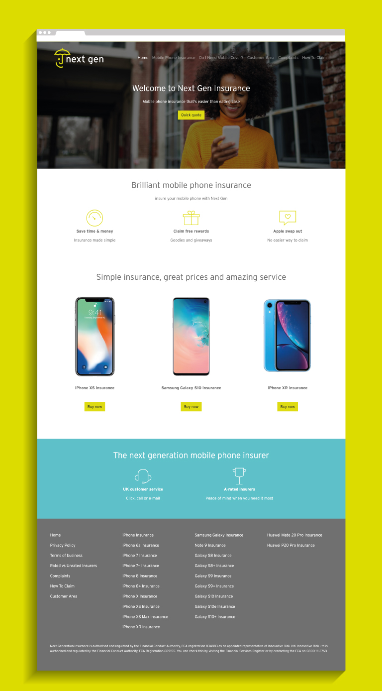 Next Gen website - mobile