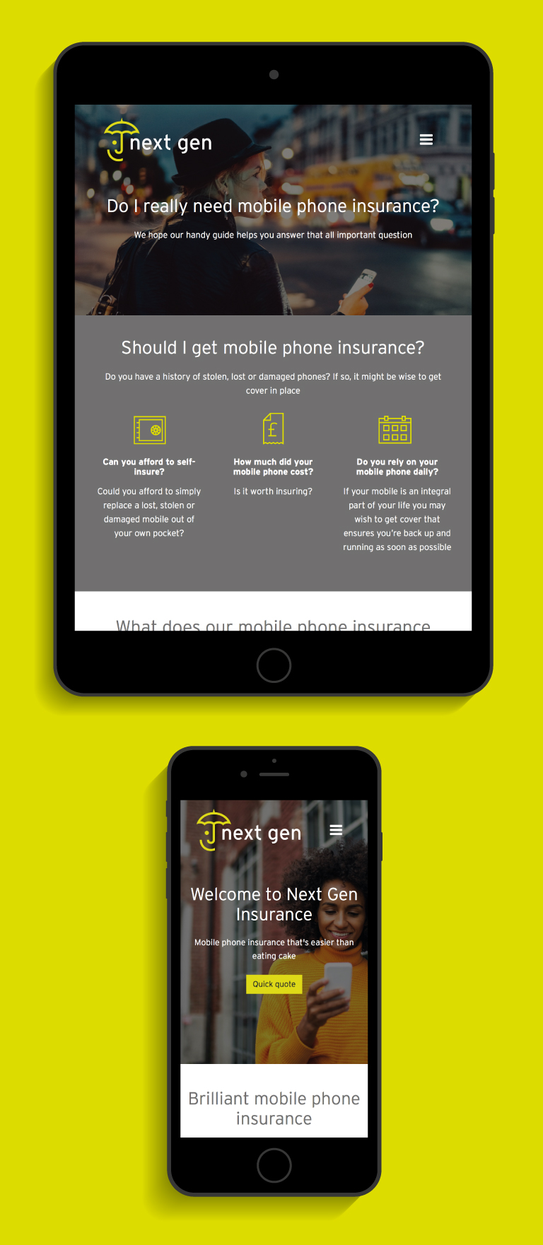 The Next Gen website on an iPad and iPhone - mobile